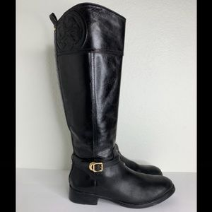 Tory Burch Marlene Black Leather Buckle Ankle Stacked Heel Tall Riding Boost